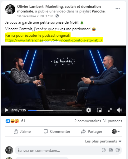 Podcast et publication Facebook